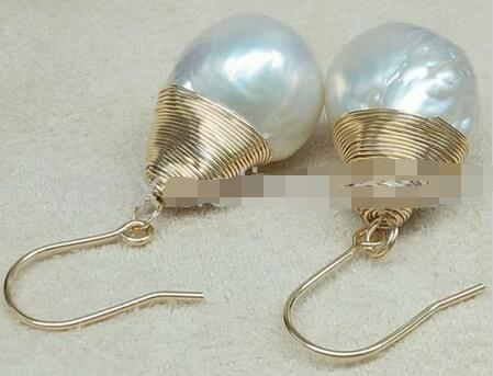 Hot sale Free Shipping>>>>14 16mm white baroque freshwater South Sea Pearl earrings 14 gold