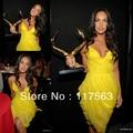 Megan Fox Red Carpet!Fashion yellow v neck spaghetti strap chiffon short mini celebrity dress CD028
