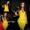 Megan Fox tapete vermelho! Moda amarela v neck spaghetti strap chiffon curto mini vestido da celebridade CD028