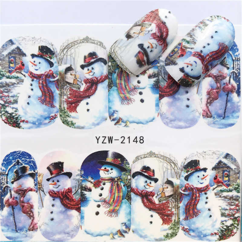 WUF 1 PC Christmas Nail Art Water Decals Pink Snowflake Snowman Transfer Stickers