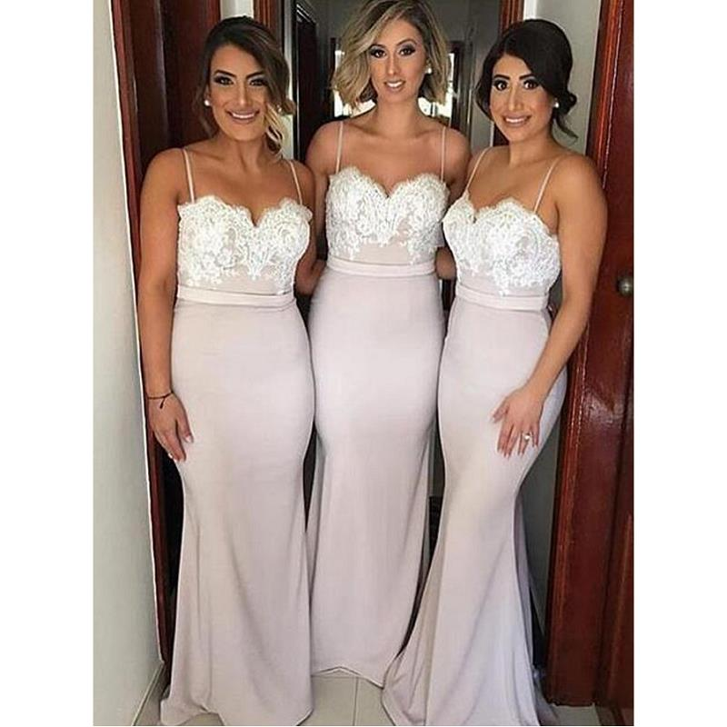 Modest Mermaid   Bridesmaid     Dresses   2019 vestidos de fiesta de noche Spaghetti Straps Maid Of Honor   Dress   For Wedding Party