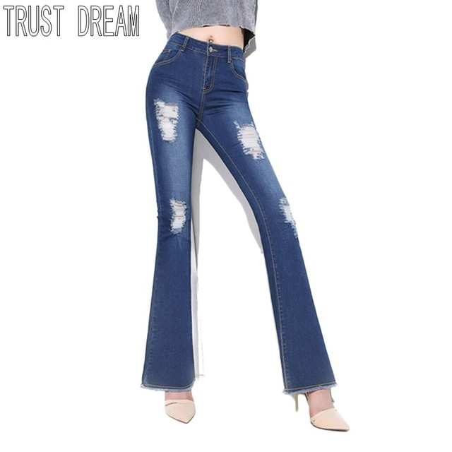 103b40693fd5ec TRUST DREAM Europeans Show Ladies Denim Flare Pants Ripped Hope Casual High  Waist Women Jeans Skinny Fit Slim Full Length Up Hip