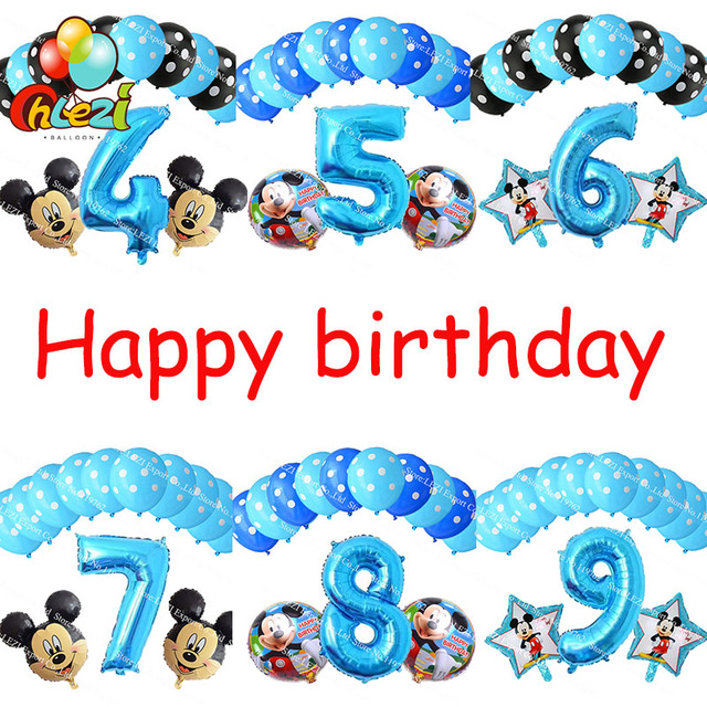 Boy 4 5 6 7 8 9 Years Old Foil Balloon Mickey Blue Number Theme Birthday Party Decor Ballon Dot Latex Balloons Baby Shower 13pcs