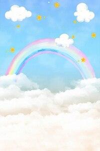 Image 2 - photography background blue sky white cloud rainbow newborn baby birthday theme backdrop professional photo studio 5x7ft