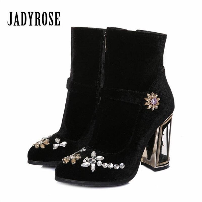 Jady Rose Fashion Velvet Women Ankle Boots Designer Birdcage High Heel Boot Rhinestone Botas Mujer Ladies High Boots Botte Femme ladies embroidered boots womens ankle boots for women winter boots black boot botas mujer bottine botte femme laarzen botines