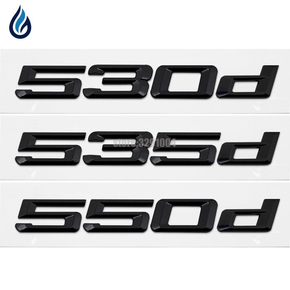 Car Trunk Rear Emblem Logo Stickers Badge Chrome Letters 530d 535d 550d For BMW 5 Series E12 E28 E34 E39 E60 E61 F10 F11 F07