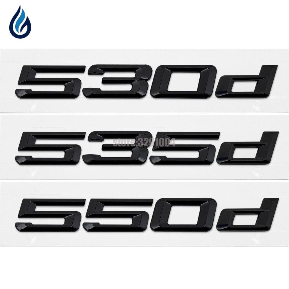 Tronc D'arrière de voiture Emblème Logo Autocollants Badge Chrome Lettres 530d 535d 550d pour BMW 5 Série E12 E28 E34 E39 E60 E61 F10 F11 F07