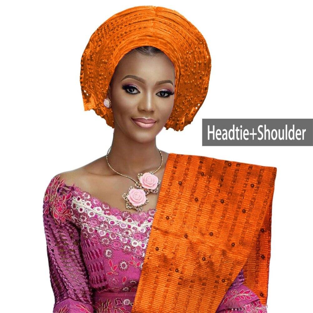 African aso oke gele headtie beaded headwrap Nigerian&African Wedding Party auto gele (14)