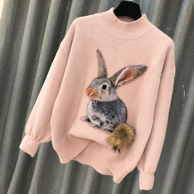 Beading Rabbit Fur Tail Sweater 1