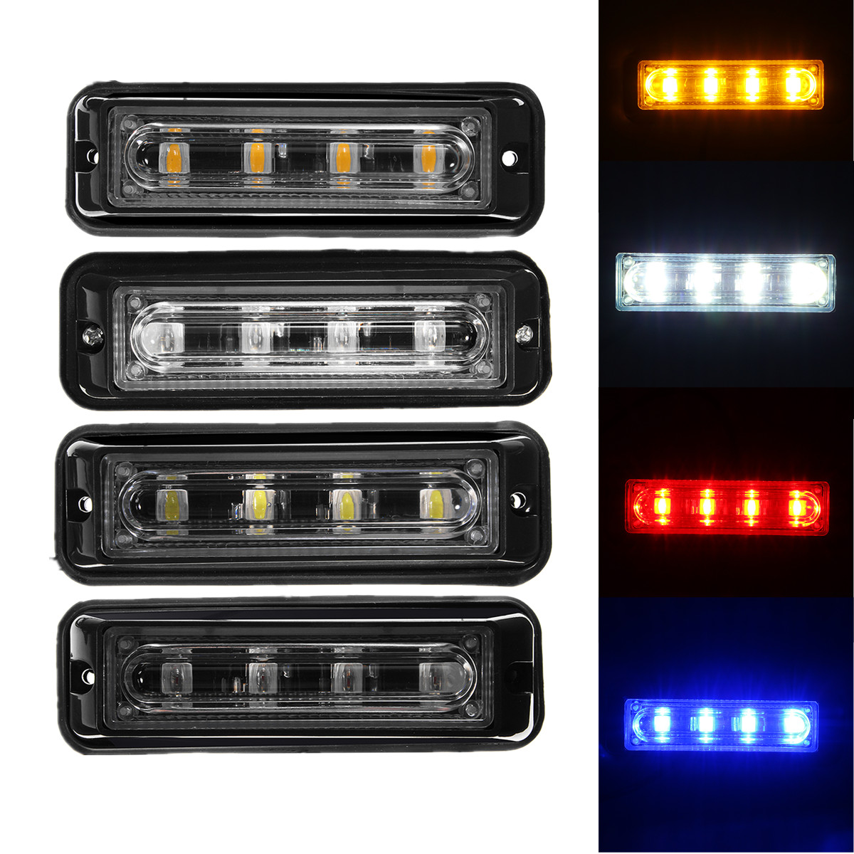 Discount 1pcs 4 Leds Truck Car Suv Emergency Flashlight Warning How To Build High Intensity Led Flasher Strobe Flash Lights Day Light Red