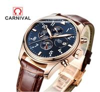 Carnaval Famoso Reloj de la Marca 2017 Nuevos Hombres De Lujo Relojes Mecánicos Automáticos de Oro Rosa Caso Azul Dial Fase Lunar Correa de Cuero