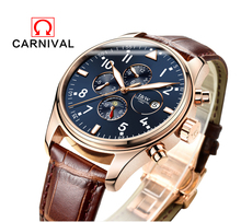 Switzerland Carnival Famous Brand Watch 2016 New Luxury Men Automatic Watches Rose Gold Case Blue Dial Leather Strap Moon Phase