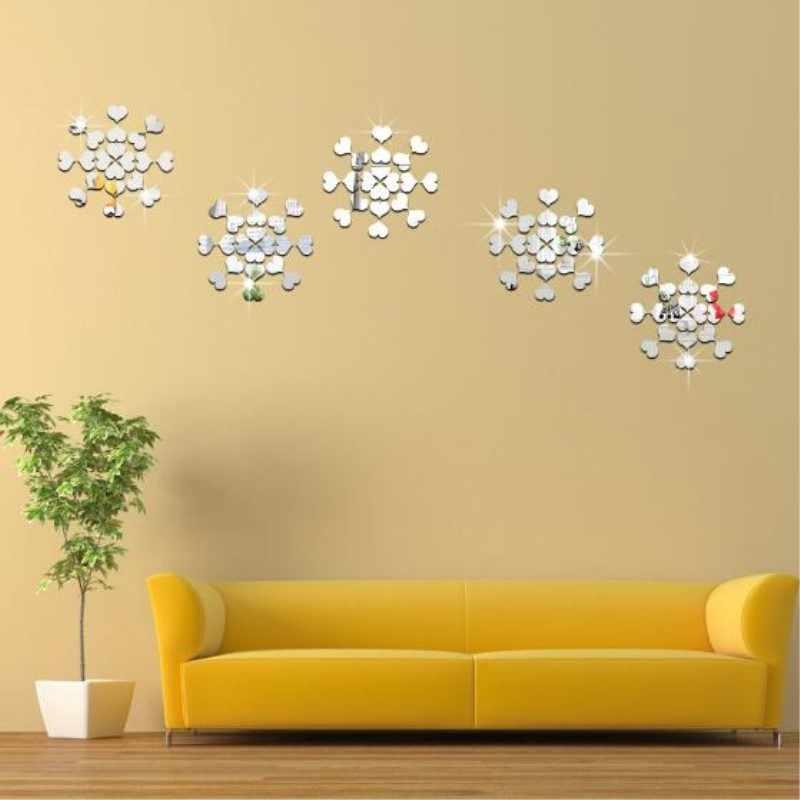 100 Uds 2cm 3D Diy espejo acrílico pegatina de pared cuadrado/corazón/forma redonda pegatinas calcomanía mosaico efecto espejo Decoración Para sala de estar