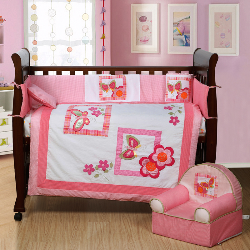 7PCS Embroidery Pink  Baby Bedding Crib Infant Cot Bedding Set Quilts ,include(bumper+duvet+sheet+pillow) modern baby quilts