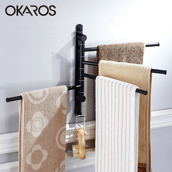 OKAROS Bathroom Towel Bar With Hook 180 Degree Rotation2/3/4 Layer Stainless Steel Towel Rack Holder Wall Mounted Towel Bars