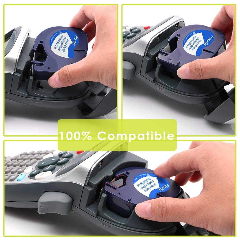 10 PCS/Lot for DYMO LetraTag Tape 91201/91331/91221/59422 Black on White( Plastic ) 4m*12mm Worked for DYMO Label Maker