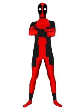 Costume deadpool rouge et noir costume zentai complet du corps