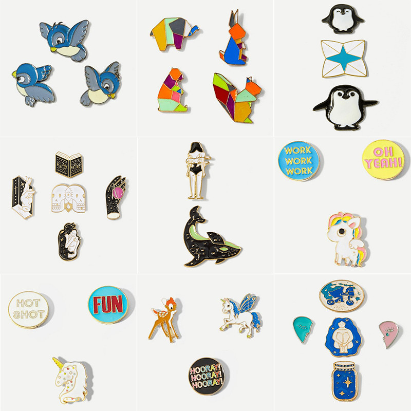 Fashion Cartoon Animal Metal Enamel Brooch Set Bird Unicorn Penguin Elephant Badge Pin Clothing Backpack Hat Jewelry Accessories