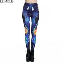 LEIMOLIS 3D printed cat monster Ghost Gothic harajuku sexy plus size high waist push up fitness workout leggings women pants