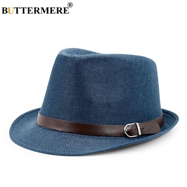 e8b01099d2c BUTTERMERE Mens Panama Hat Linen Navy Blue Hawaiian Summer Beach Sun Hat  Lady Casual Designer Straw Fedora Hats Brand