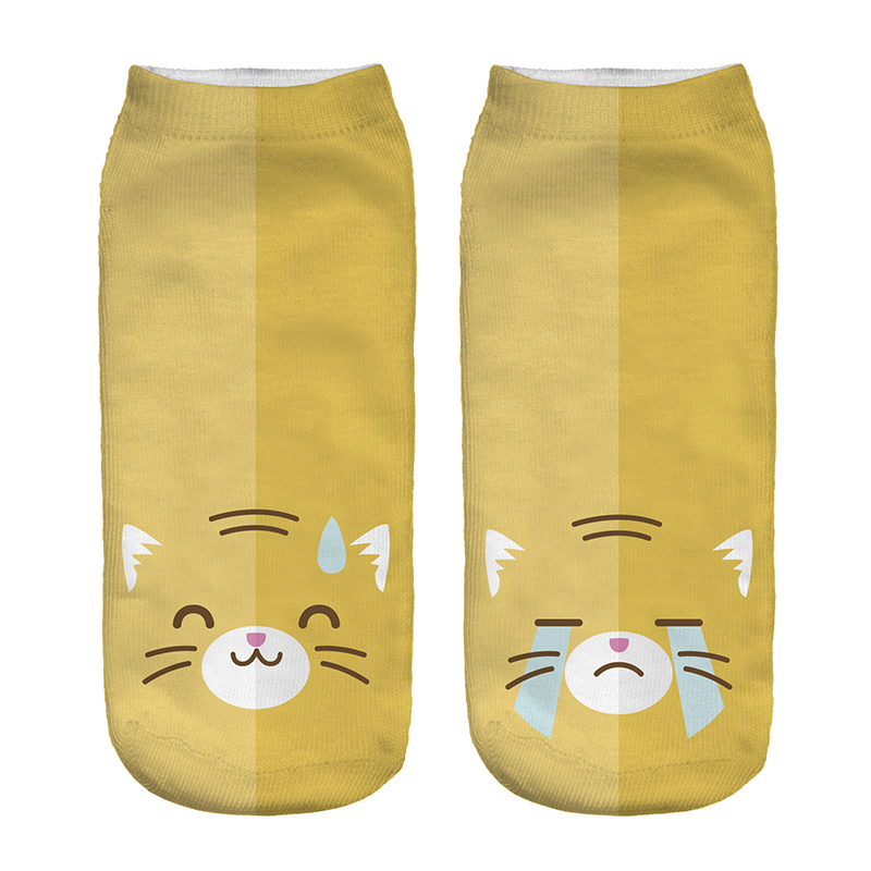 hot sale 3D Digital Printed Happy sad cat Women Socks Unisex Fashion Cute Short Sock Women Low Cut Dress Sock Hot Useful