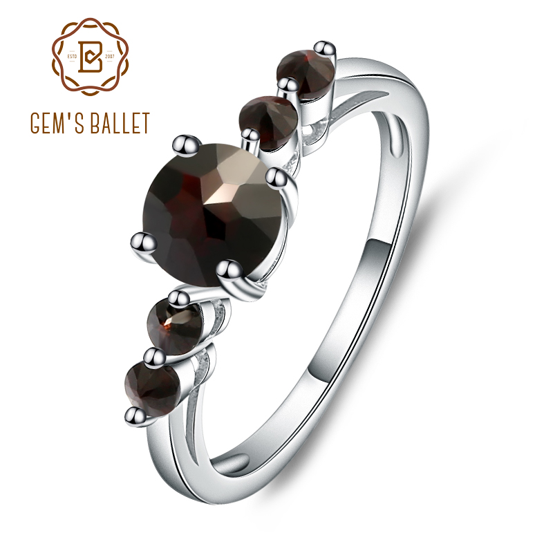 GEM'S BALLET Natural  Black Garnet  Gemstone Ring Genuine 925 Sterling Silver Rings For Women Gift Fashion Jewelry Vintage
