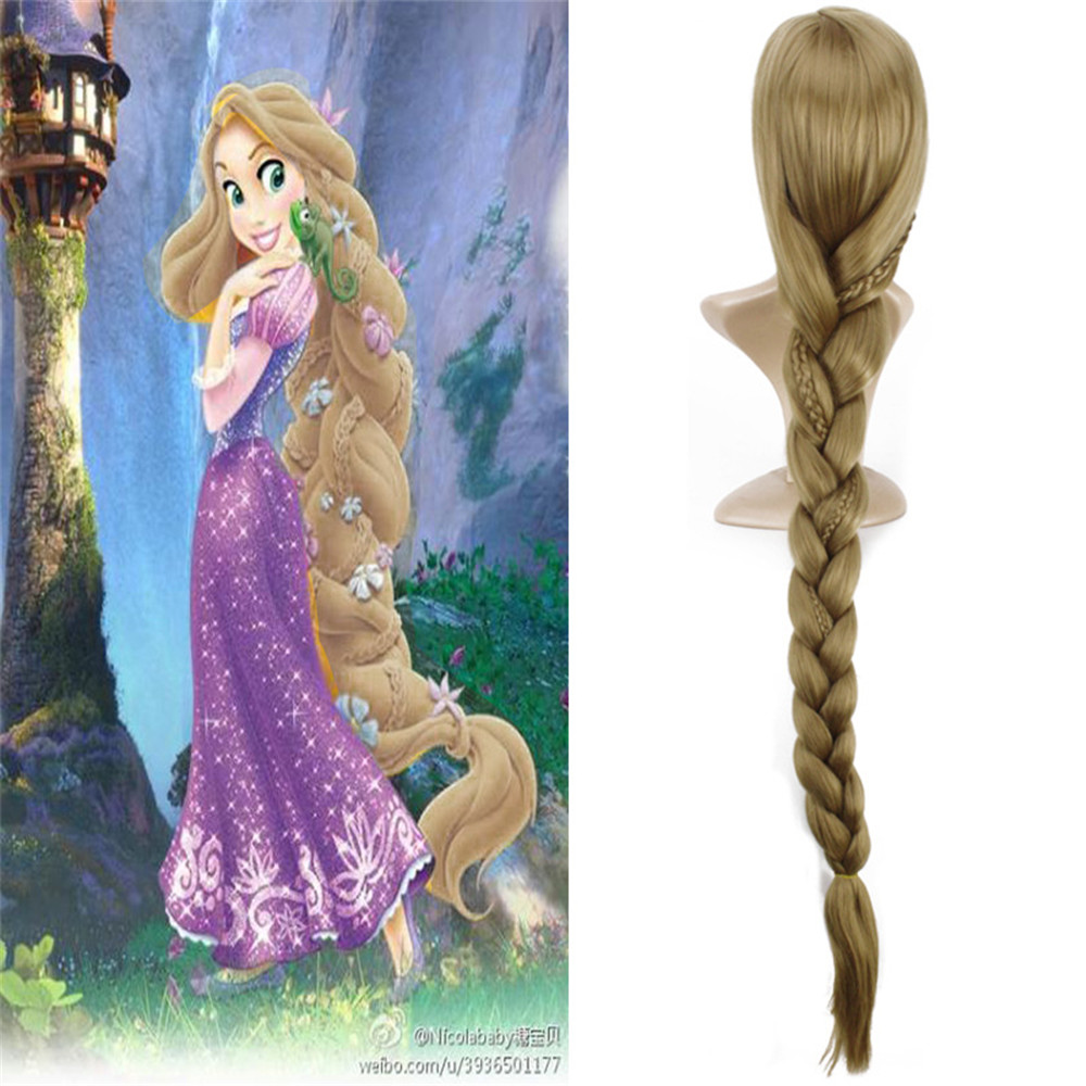 Tangled Rapunzel 120cm Long Light Golden Braid Styled Central Part Synthetic Hair Party Cosplay Full Wigs