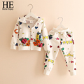 HE Hello Enjoy girls clothing sets winter 2016 kids clothes set Floral Dobby Kids Tracksuit(Jacket+pants) Girls Clothing Sets