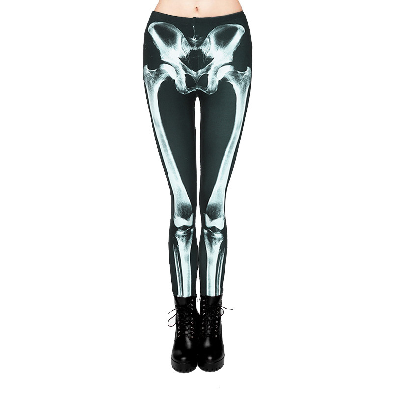 Feitong Women 3D Funny Pants Casual Printed Slim High Waist Elastic Pants