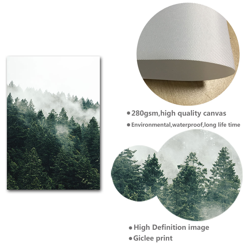 Mountain Foggy Forest Picture Nature Scenery Scandinavian Poster Nordic Decoration Landscape Print Wall Art Canvas Painting Mountain Foggy Forest Picture Nature Scenery Scandinavian Poster Nordic Decoration Landscape Print Wall Art Canvas Painting