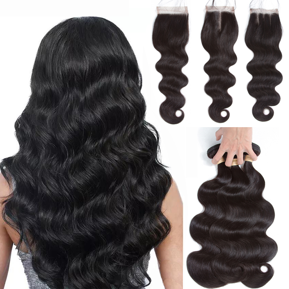 Sapphire Peruvian Human Hair Bundles With Closure Body Wave Bundles With Closure 3 Bundles With Closure