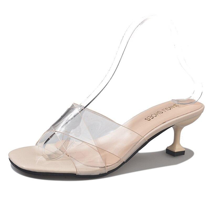 С открытым носком прозрачная обувь женские тапочки прозрачный ремешок на среднем каблуке Дамская обувь женские ПВХ шлепанцы zapatos mujer Босоно...