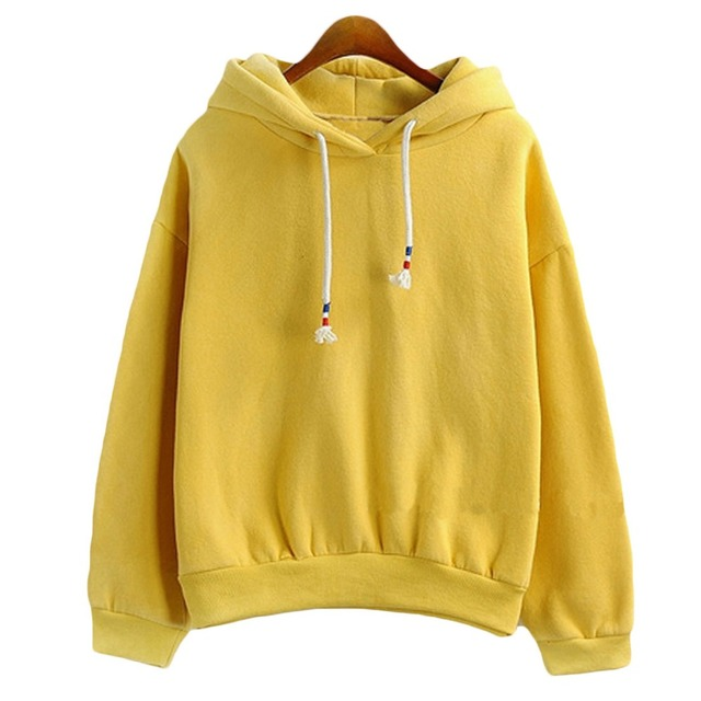 Women Hoodies Sweatshirts New Hot Sale Candy 10 Color Long Sleeved Thick  Casual All-match Solid Leisure Hooded Hoodie Loose Tops b0515c6162
