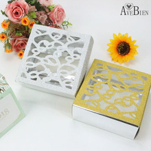 AVEBIEN 10pcs Glitter Paper Chocolate Gift Box Cake Biscuit Baking Package Candy West Point Party Supplies