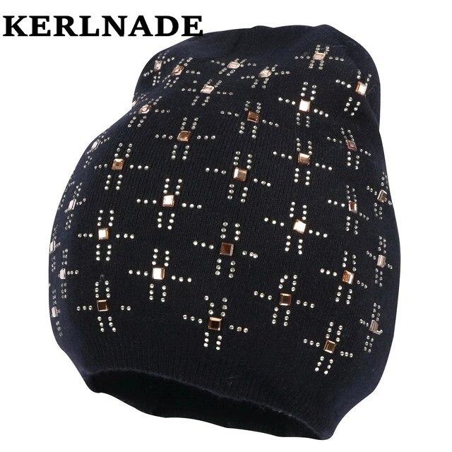 1fcf1018f78f6 new fashion women girl fashion beanies wool casual winter hats custom  design rhinestone luxury skullies thermal winter gorros