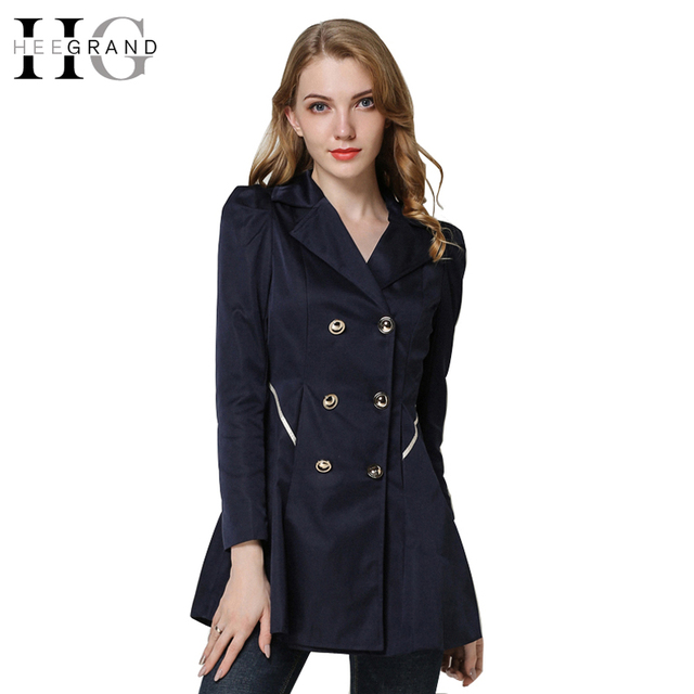 HEE GRAND 2018 Autumn Women Trench Coat Double Breasted OL Brief Style Overcoat Turn-Down Collar Elegant Button Coats WWF102