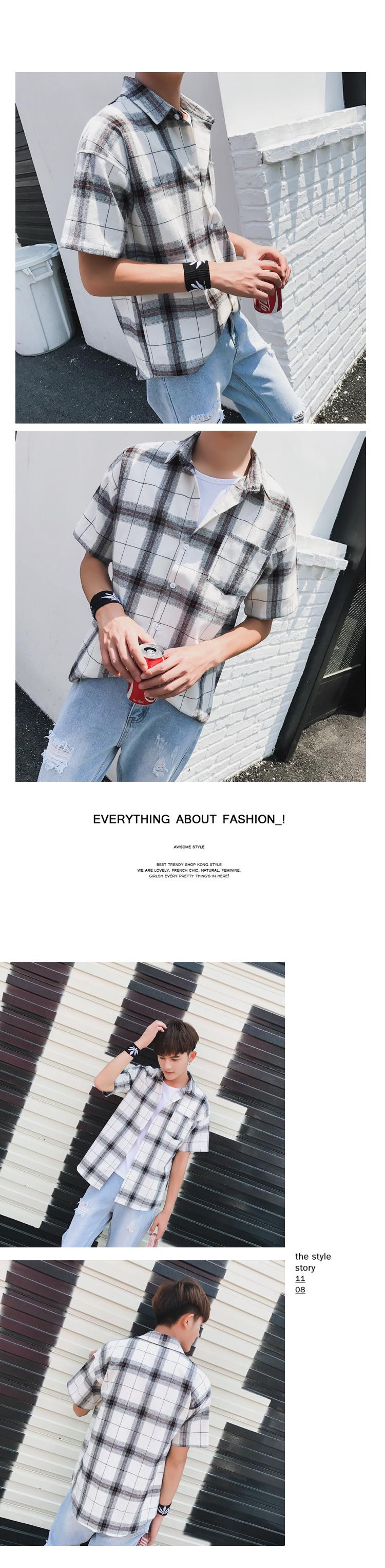 LEGIBLE Men Plaid Short Shirts 2019 Mens Harajuku Streetwear Casual Loose Hip Hop Half Sleeve Shirt Male Fashion 12