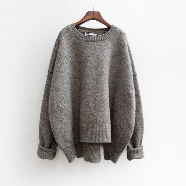 2016 Women Sweater Pullovers Autumn Winter Oversized Sweaters Pull Korean Buderry Loose Fashion Jumpers Mohair Sueter Mujer