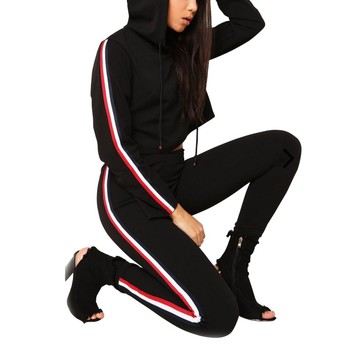 2 Piece Set Top And Pants Sexy Striped Ladies Leisure Two Pieces Pullover Suits