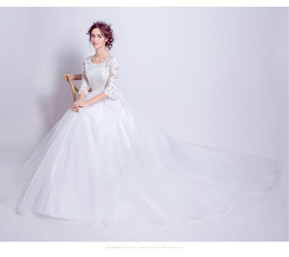 Angel Wedding Dress Marriage Bride Bridal Gown Vestido De Noiva 2017 Boat Neck horn sleeve, big tail 6910 13