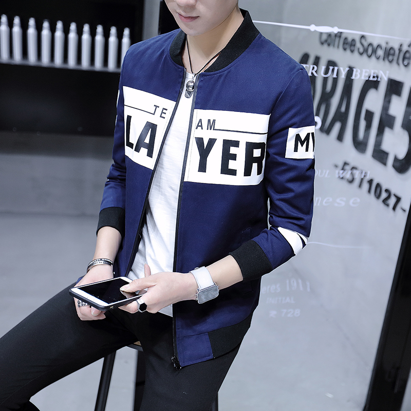 Fashion 2018 New Jacket Men Brand Patchwork Color Letter Bomber Jacket Stand Collar Casu ...