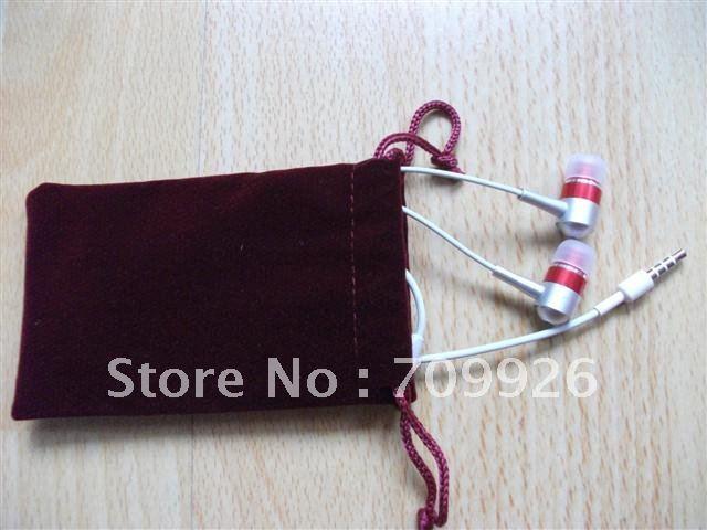 Drawstring bag for earphone soft pouch for earplug headphones min order 1000pcs/lot