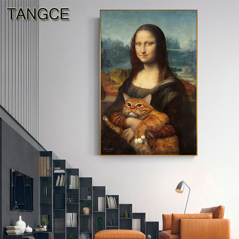 Abstract Prank Napoleon Mona Lisa Hug Cat Nodic Poster And Print Modern Picture On The Wall Big Poster For Living Room Tableaux