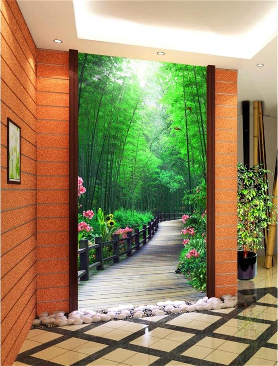 US $14 74 OFF 3d Wallpaper Foto Wallpaper Kustom Mural Teras Hutan Bambu Kayu Jembatan Lukisan Livingroom Latar Belakang Wallpaper Untuk Dinding