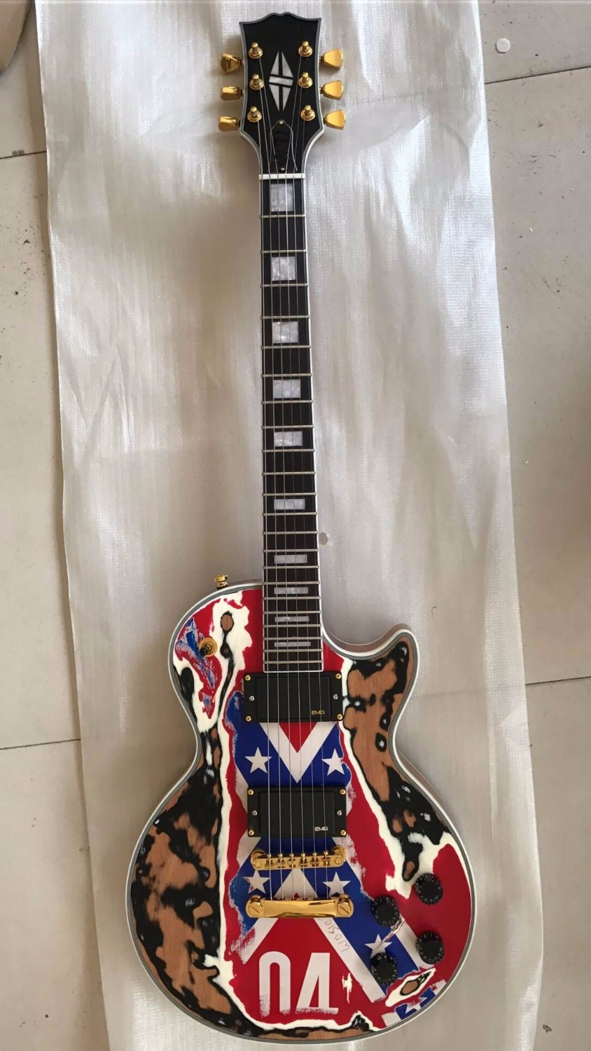 Wholesale Cheap Guitar New Cibson LP Custom China Electric Guitar Mahogany Body/Neck Flag Body 170909 china oem firehawk guitar wholesale custom shop sg electric guitar a piece wood of the neck electric guitar