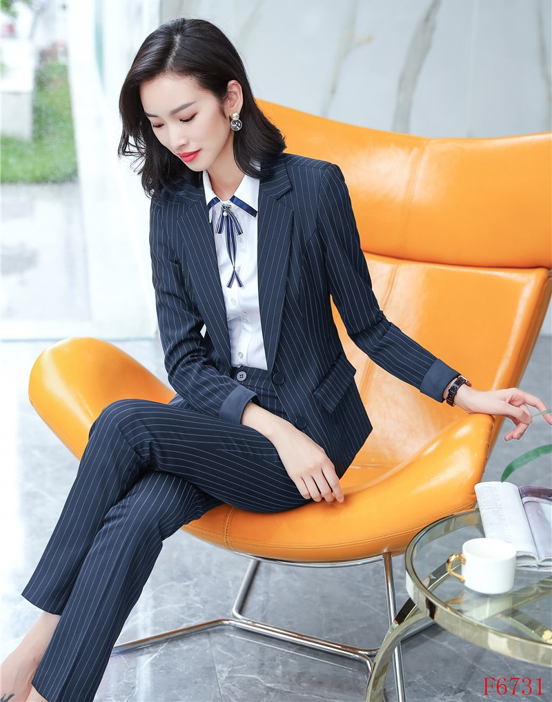 Pant Suits Ladies Navy Blue Blazer Women Business Suits Formal Office Suits Work Wear Pant And Jacket Set Ol Styles Suits & Sets