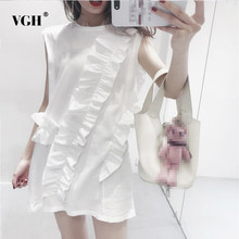 420a111219b VGH Solid Round Women T Shirt Sleeveless Irregular Ruffles Casual Loose Big Size  Female T Shirt 2018 Summer Korean Fashion New