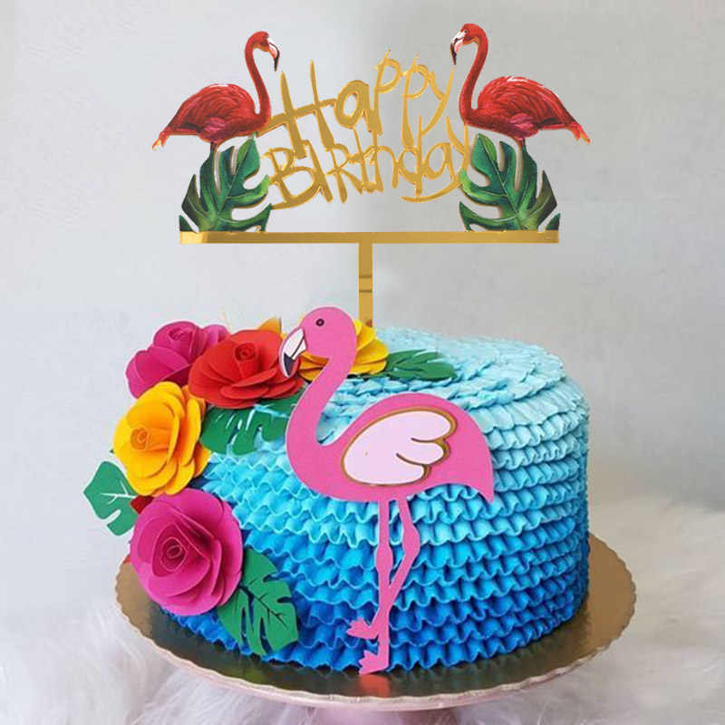 Swell 1Pcs Flamingo Happy Birthday Cake Topper Summer Tropical Luau Personalised Birthday Cards Bromeletsinfo