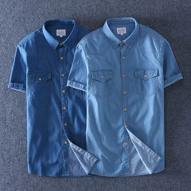 Bolsillo light Delgados Vaqueros Más Hombres Manga Blue Pantalones Camisa Suave 100 Verano Dos Corta Tamaño Blue Algodón Delgada Denim 2018 Delantero qaFHB