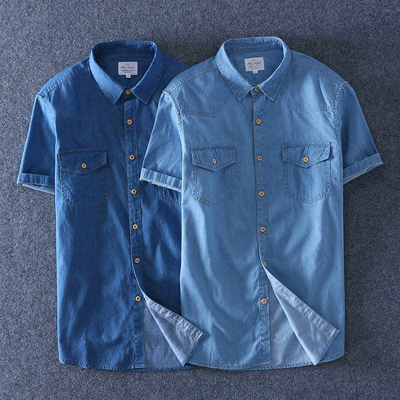 1afa122d5 ... 2019 Summer 100% Cotton Men Short Sleeve Denim thin Shirt Soft Slim  Jeans Plus Size ...